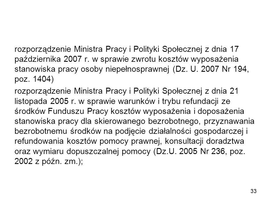 rozporządzenie Ministra Pracy i Polityki Społecznej z dnia 17 października 2007 r. w sprawie zwrotu kosztów wyposażenia stanowiska pracy osoby niepełn