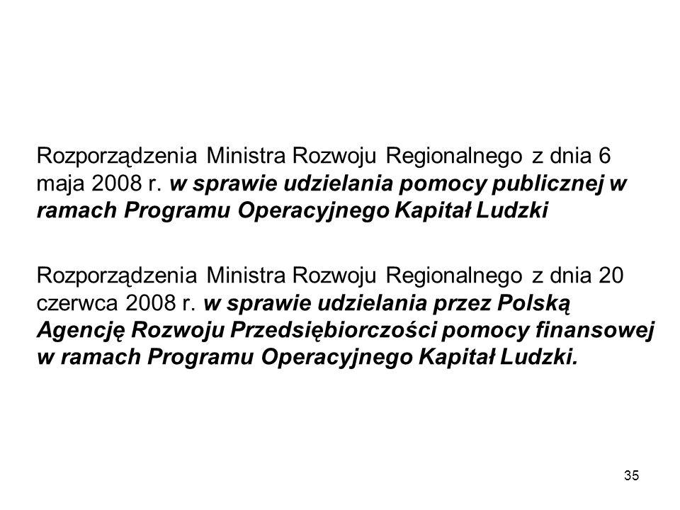 Rozporządzenia Ministra Rozwoju Regionalnego z dnia 6 maja 2008 r. w sprawie udzielania pomocy publicznej w ramach Programu Operacyjnego Kapitał Ludzk