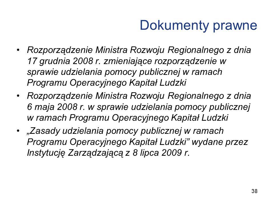Dokumenty prawne Rozporządzenie Ministra Rozwoju Regionalnego z dnia 17 grudnia 2008 r. zmieniające rozporządzenie w sprawie udzielania pomocy publicz