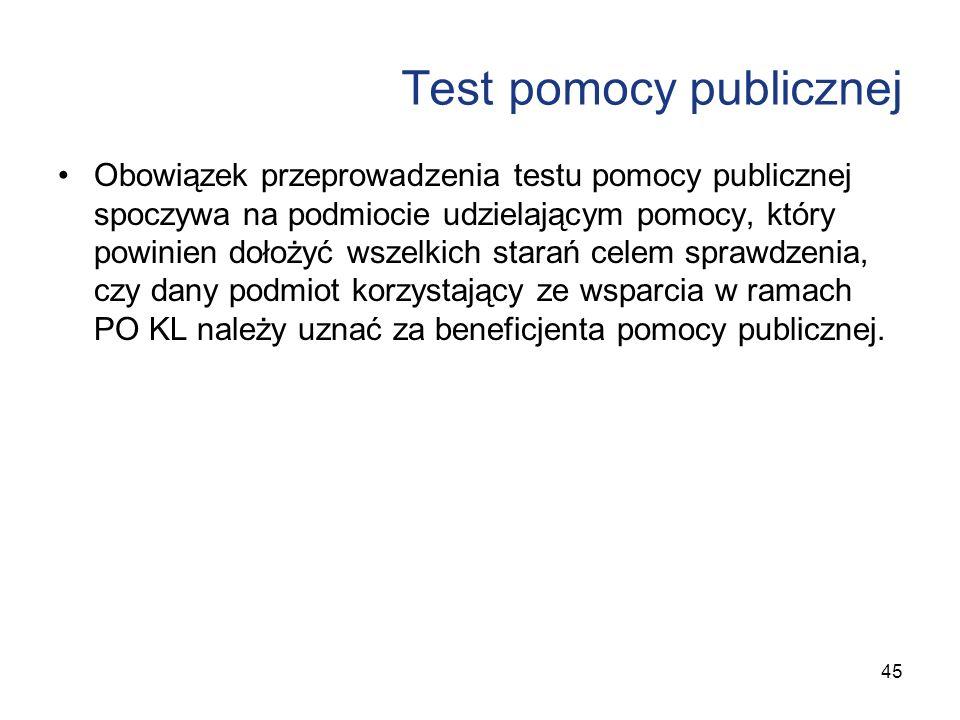 Test pomocy publicznej Obowiązek przeprowadzenia testu pomocy publicznej spoczywa na podmiocie udzielającym pomocy, który powinien dołożyć wszelkich s