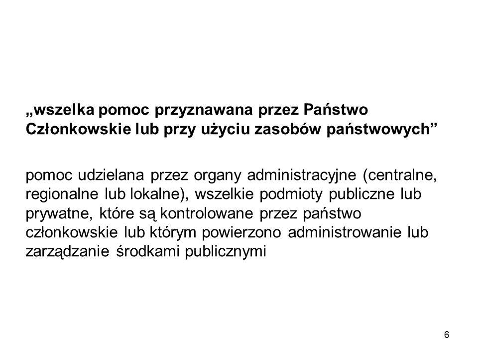 Występowanie pomocy publicznej w ramach Priorytetu VI PO KL: IIII.
