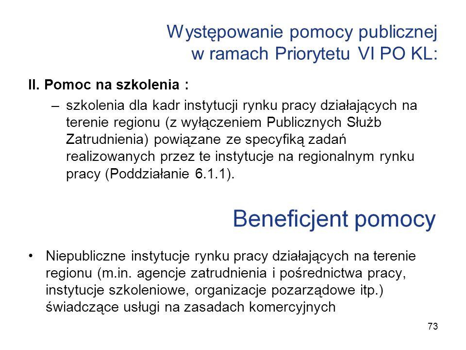 Występowanie pomocy publicznej w ramach Priorytetu VI PO KL: II. Pomoc na szkolenia : –szkolenia dla kadr instytucji rynku pracy działających na teren