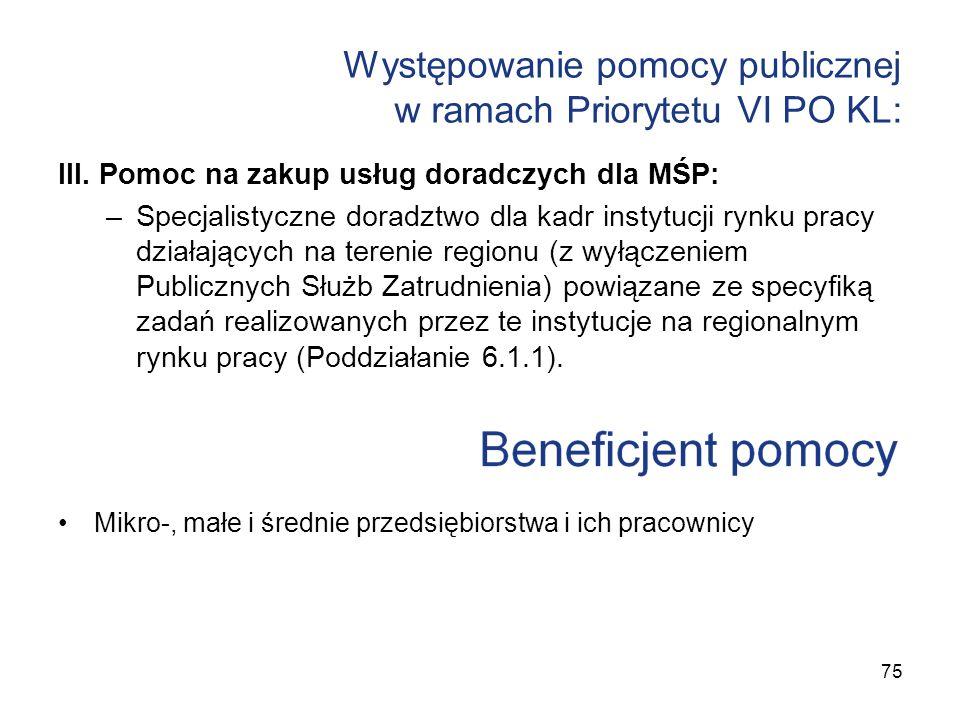 Występowanie pomocy publicznej w ramach Priorytetu VI PO KL: III. Pomoc na zakup usług doradczych dla MŚP: –Specjalistyczne doradztwo dla kadr instytu
