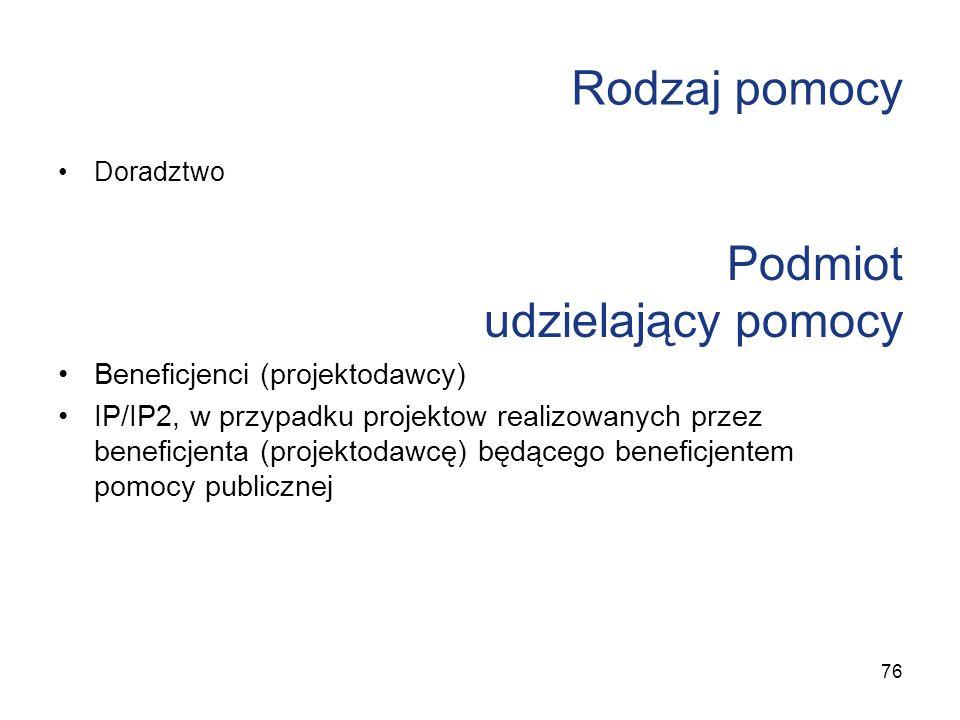 Rodzaj pomocy Doradztwo Podmiot udzielający pomocy Beneficjenci (projektodawcy) IP/IP2, w przypadku projektow realizowanych przez beneficjenta (projek