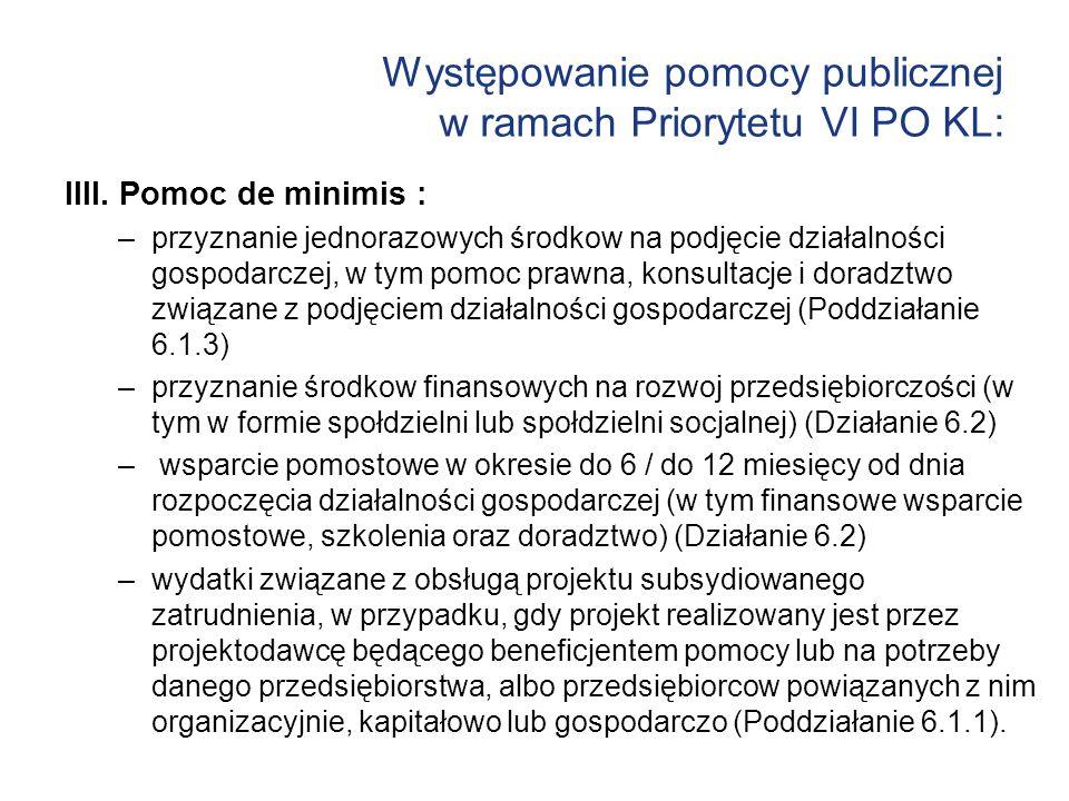 Występowanie pomocy publicznej w ramach Priorytetu VI PO KL: IIII. Pomoc de minimis : –przyznanie jednorazowych środkow na podjęcie działalności gospo