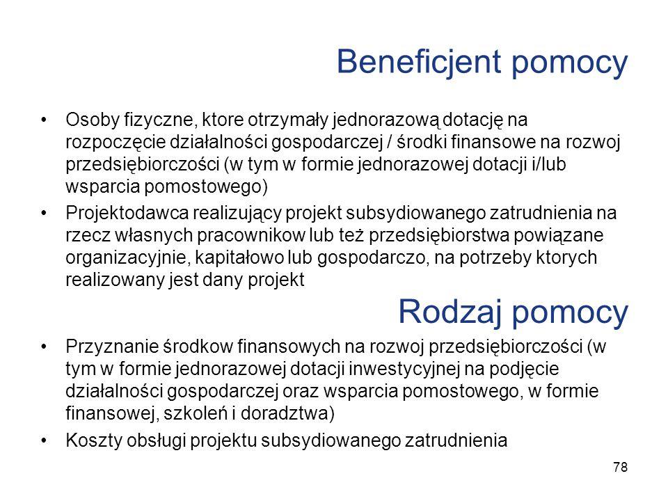 Beneficjent pomocy Osoby fizyczne, ktore otrzymały jednorazową dotację na rozpoczęcie działalności gospodarczej / środki finansowe na rozwoj przedsięb
