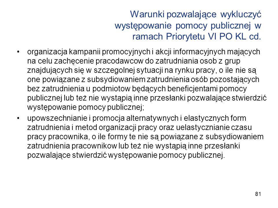 Warunki pozwalające wykluczyć występowanie pomocy publicznej w ramach Priorytetu VI PO KL cd. organizacja kampanii promocyjnych i akcji informacyjnych