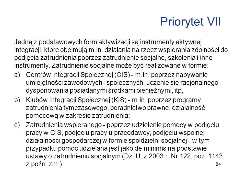 Priorytet VII Jedną z podstawowych form aktywizacji są instrumenty aktywnej integracji, ktore obejmują m.in. działania na rzecz wspierania zdolności d