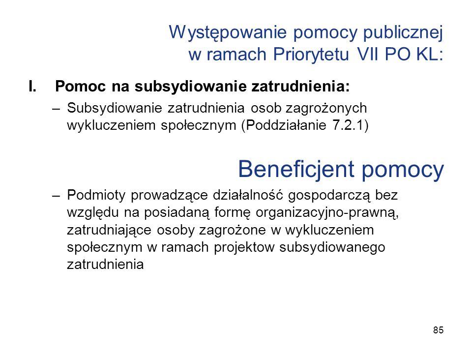 Występowanie pomocy publicznej w ramach Priorytetu VII PO KL: I.Pomoc na subsydiowanie zatrudnienia: –Subsydiowanie zatrudnienia osob zagrożonych wykl