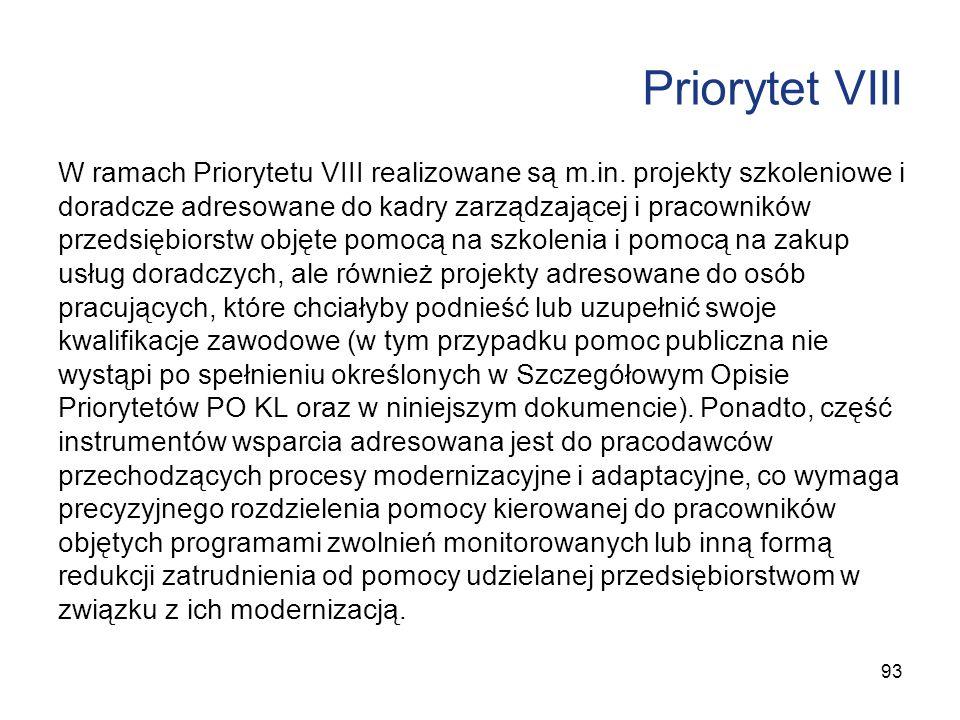 Priorytet VIII W ramach Priorytetu VIII realizowane są m.in. projekty szkoleniowe i doradcze adresowane do kadry zarządzającej i pracowników przedsięb