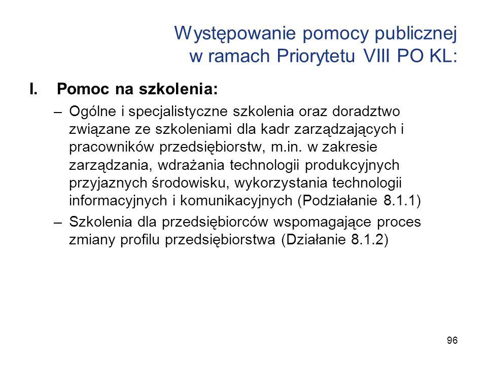 Występowanie pomocy publicznej w ramach Priorytetu VIII PO KL: I.Pomoc na szkolenia: –Ogólne i specjalistyczne szkolenia oraz doradztwo związane ze sz