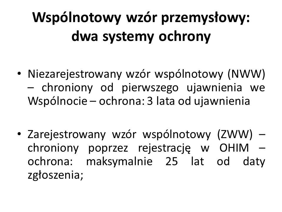 Wspólnotowy wzór przemysłowy: dwa systemy ochrony Niezarejestrowany wzór wspólnotowy (NWW) – chroniony od pierwszego ujawnienia we Wspólnocie – ochron