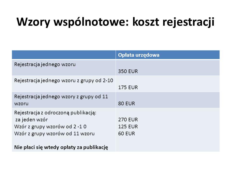 Wzory wspólnotowe: koszt rejestracji Opłata urzędowa Rejestracja jednego wzoru 350 EUR Rejestracja jednego wzoru z grupy od 2-10 175 EUR Rejestracja j
