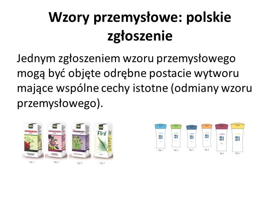Wzory przemysłowe: polskie zgłoszenie Jednym zgłoszeniem wzoru przemysłowego mogą być objęte odrębne postacie wytworu mające wspólne cechy istotne (od