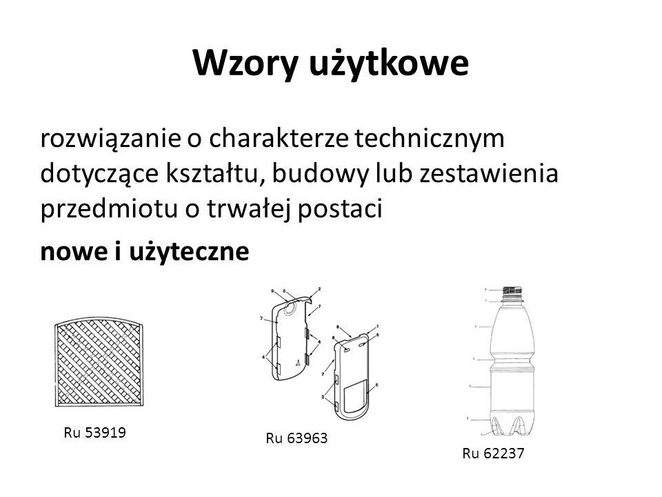 Wzory użytkowe rozwiązanie o charakterze technicznym dotyczące kształtu, budowy lub zestawienia przedmiotu o trwałej postaci nowe i użyteczne Ru 53919