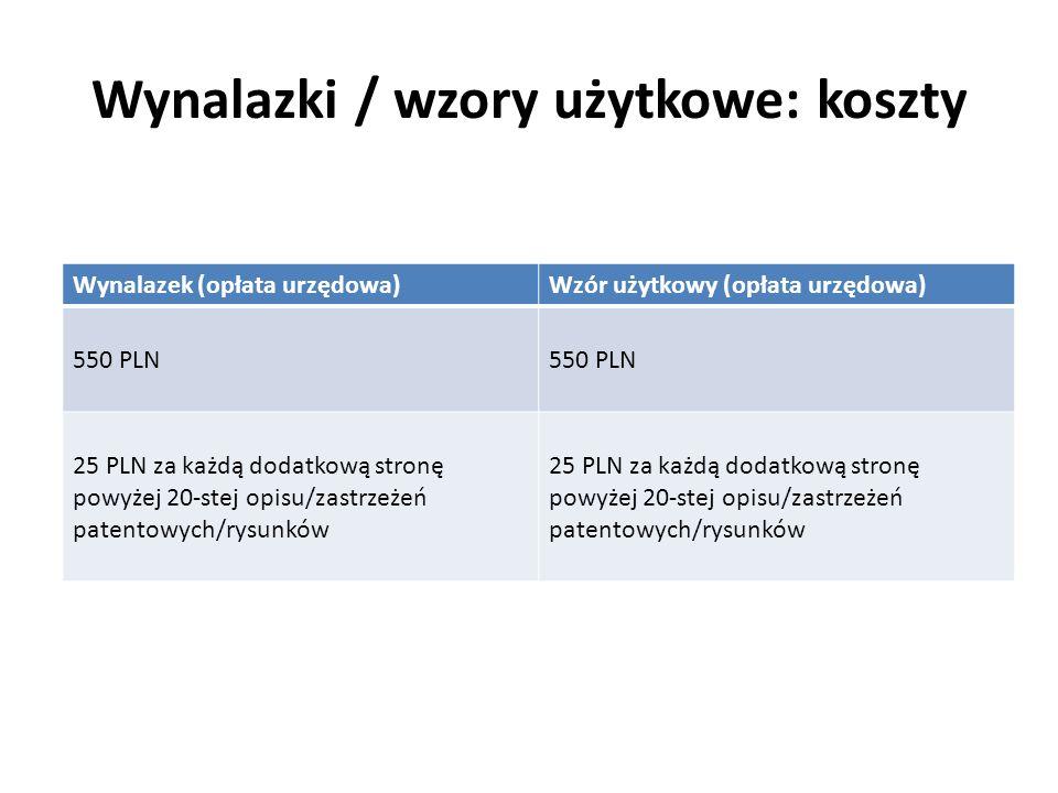 Wynalazki / wzory użytkowe: koszty Wynalazek (opłata urzędowa)Wzór użytkowy (opłata urzędowa) 550 PLN 25 PLN za każdą dodatkową stronę powyżej 20-stej
