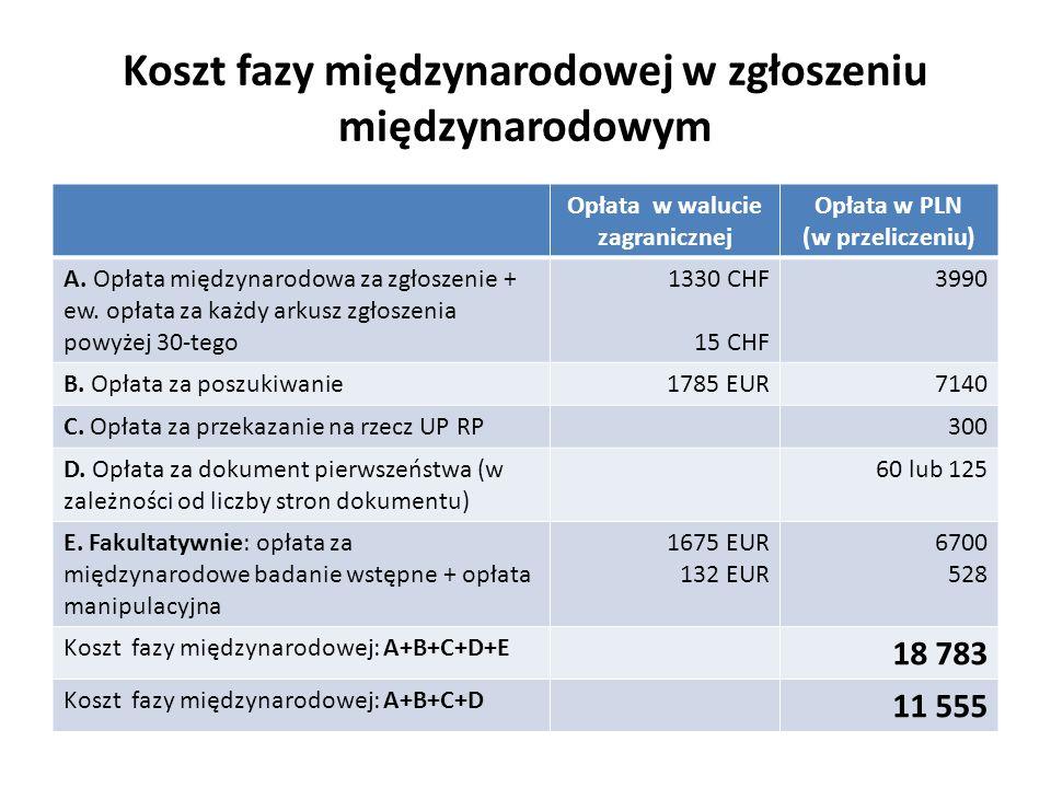 Koszt fazy międzynarodowej w zgłoszeniu międzynarodowym Opłata w walucie zagranicznej Opłata w PLN (w przeliczeniu) A. Opłata międzynarodowa za zgłosz