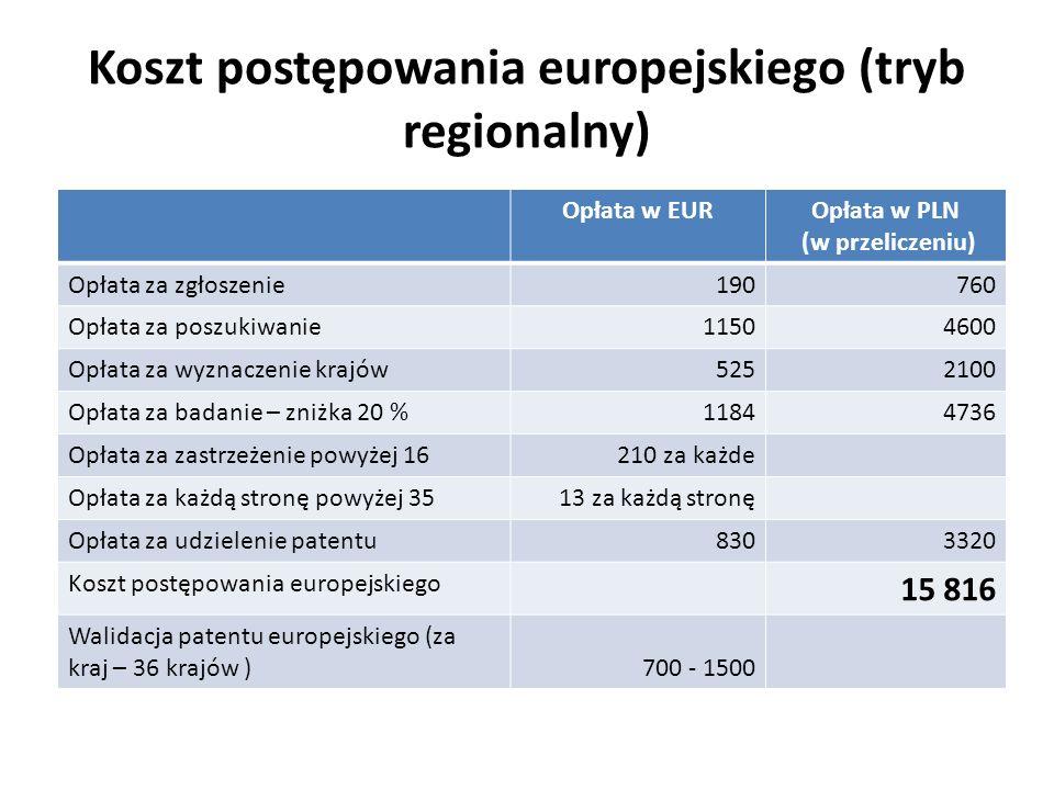 Koszt postępowania europejskiego (tryb regionalny) Opłata w EUROpłata w PLN (w przeliczeniu) Opłata za zgłoszenie190760 Opłata za poszukiwanie11504600