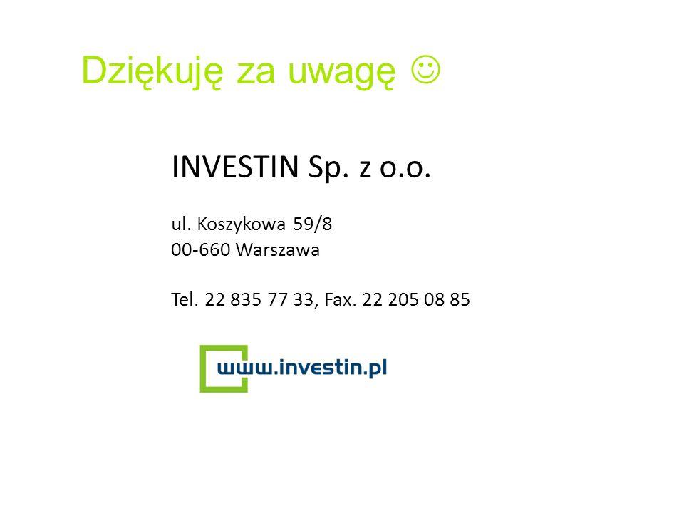 INVESTIN Sp. z o.o. ul. Koszykowa 59/8 00-660 Warszawa Tel. 22 835 77 33, Fax. 22 205 08 85 Dziękuję za uwagę