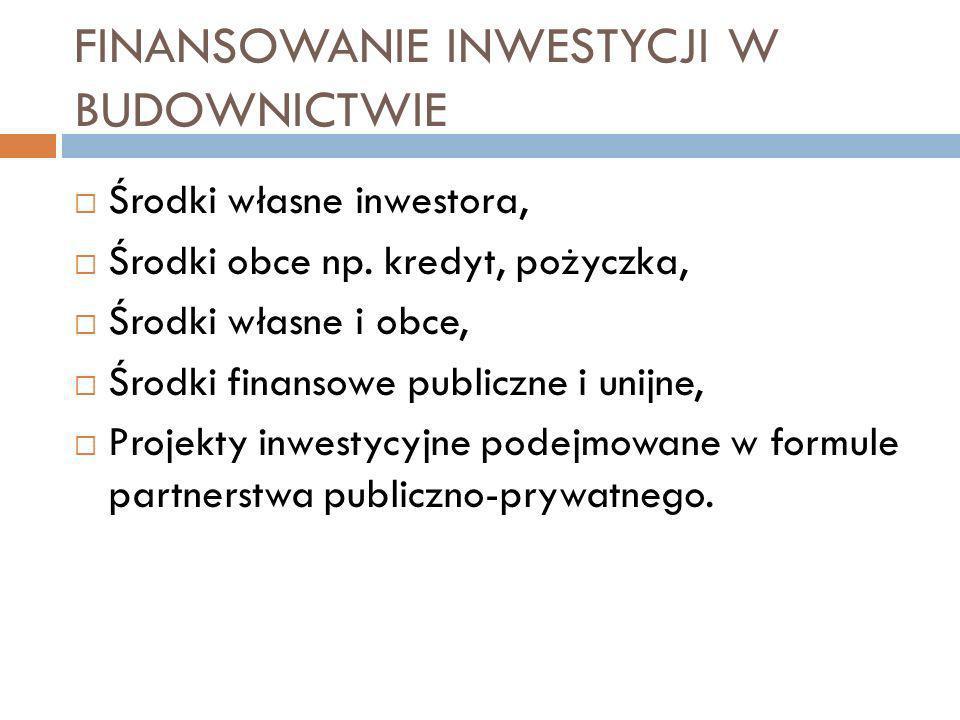 FINANSOWANIE INWESTYCJI W BUDOWNICTWIE Środki własne inwestora, Środki obce np.