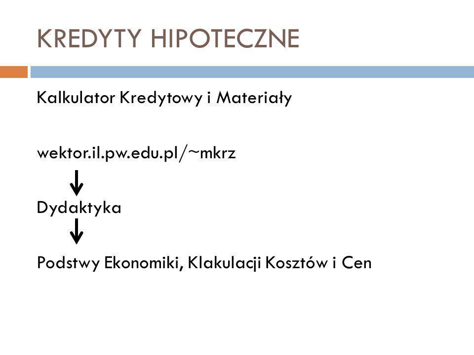 KREDYTY HIPOTECZNE Kalkulator Kredytowy i Materiały wektor.il.pw.edu.pl/~mkrz Dydaktyka Podstwy Ekonomiki, Klakulacji Kosztów i Cen
