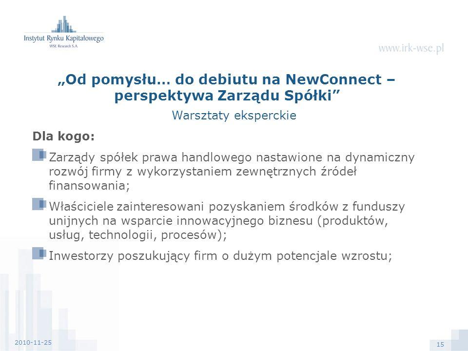 15 2010-11-25 Dla kogo: Zarządy spółek prawa handlowego nastawione na dynamiczny rozwój firmy z wykorzystaniem zewnętrznych źródeł finansowania; Właściciele zainteresowani pozyskaniem środków z funduszy unijnych na wsparcie innowacyjnego biznesu (produktów, usług, technologii, procesów); Inwestorzy poszukujący firm o dużym potencjale wzrostu; Od pomysłu… do debiutu na NewConnect – perspektywa Zarządu Spółki Warsztaty eksperckie