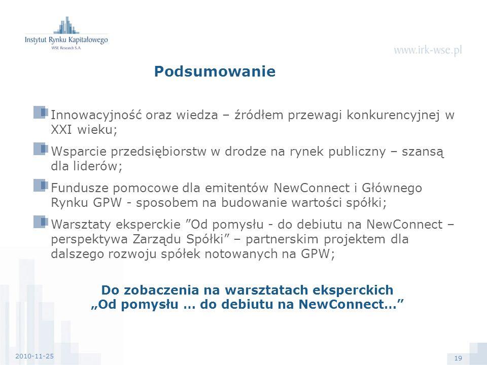 19 2010-11-25 Podsumowanie Innowacyjność oraz wiedza – źródłem przewagi konkurencyjnej w XXI wieku; Wsparcie przedsiębiorstw w drodze na rynek publiczny – szansą dla liderów; Fundusze pomocowe dla emitentów NewConnect i Głównego Rynku GPW - sposobem na budowanie wartości spółki; Warsztaty eksperckie Od pomysłu - do debiutu na NewConnect – perspektywa Zarządu Spółki – partnerskim projektem dla dalszego rozwoju spółek notowanych na GPW; Do zobaczenia na warsztatach eksperckich Od pomysłu … do debiutu na NewConnect…