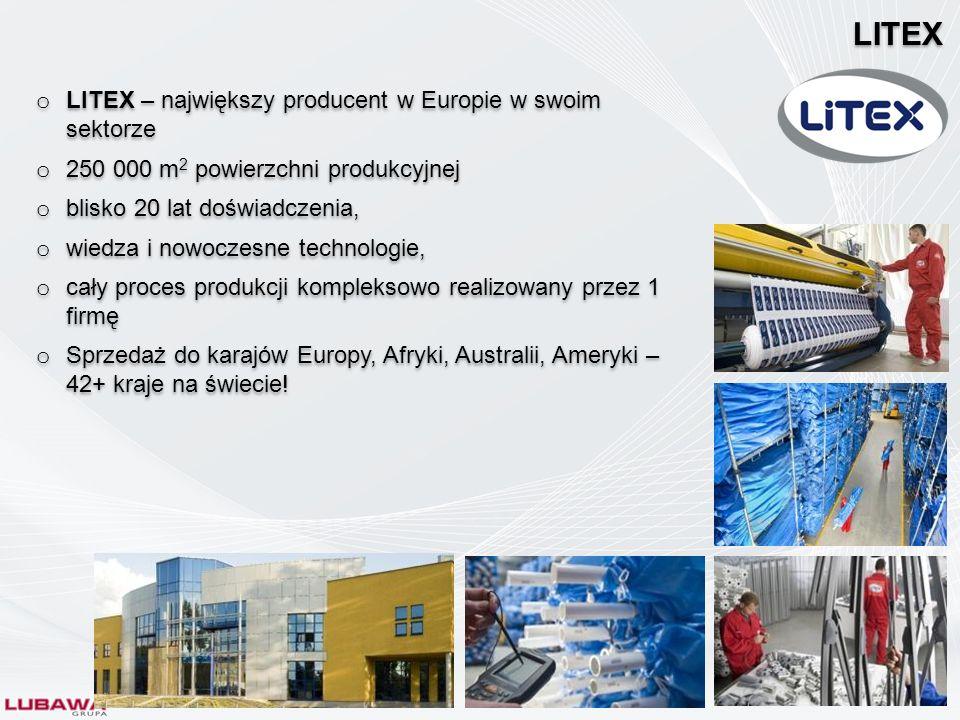 o LITEX – największy producent w Europie w swoim sektorze o 250 000 m 2 powierzchni produkcyjnej o blisko 20 lat doświadczenia, o wiedza i nowoczesne
