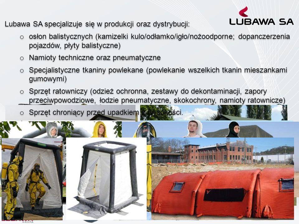 Lubawa SA specjalizuje się w produkcji oraz dystrybucji: o osłon balistycznych (kamizelki kulo/odłamko/igło/nożoodporne; dopanczerzenia pojazdów, płyt