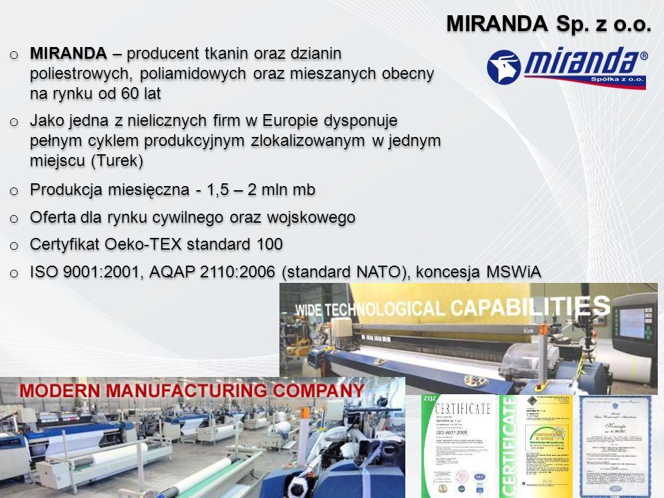 o MIRANDA – producent tkanin oraz dzianin poliestrowych, poliamidowych oraz mieszanych obecny na rynku od 60 lat o Jako jedna z nielicznych firm w Eur