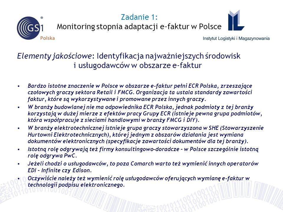 Elementy jakościowe: Identyfikacja najważniejszych środowisk i usługodawców w obszarze e-faktur Bardzo istotne znaczenie w Polsce w obszarze e-faktur