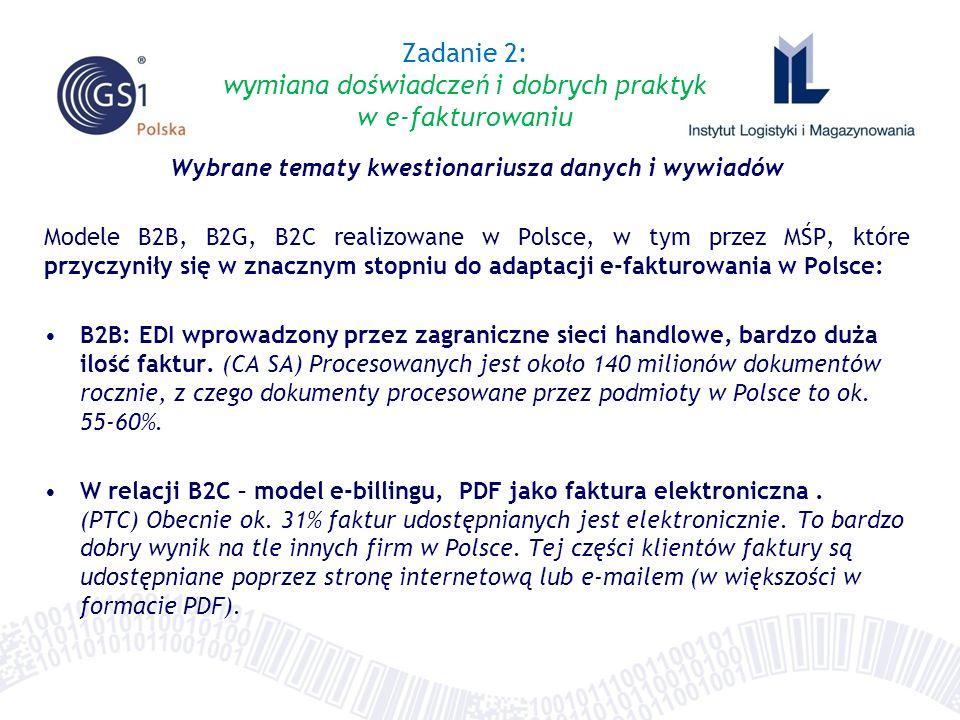 Wybrane tematy kwestionariusza danych i wywiadów Modele B2B, B2G, B2C realizowane w Polsce, w tym przez MŚP, które przyczyniły się w znacznym stopniu