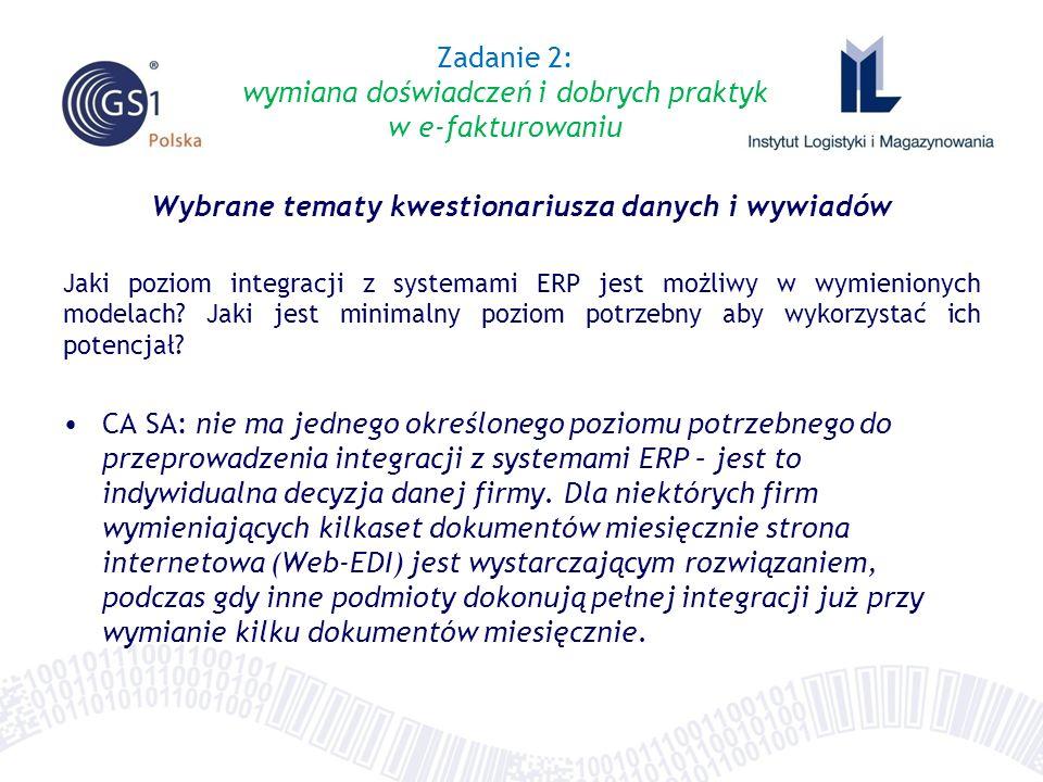 Wybrane tematy kwestionariusza danych i wywiadów Jaki poziom integracji z systemami ERP jest możliwy w wymienionych modelach? Jaki jest minimalny pozi