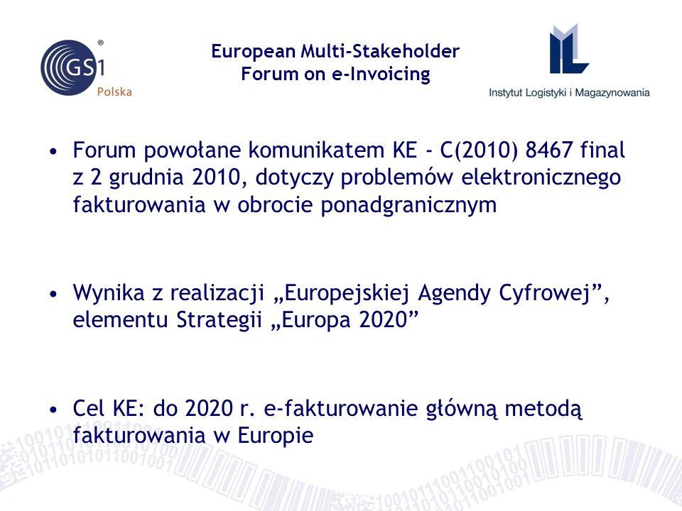 Zadania Europejskiego Wielostronnego Forum Elektronicznego Fakturowania 1)monitoring stopnia adaptacji e-faktur w krajach członkowskich oraz na poziomie UE 2)wymiana doświadczeń i dobrych praktyk w e-fakturowaniu 3)tworzenie i opiniowanie propozycji rozwiązań usuwających istniejące bariery trans-granicznej wymiany e-faktur 4)udział w pracach nad migracją e-faktury do standardowego modelu danych European Multi-Stakeholder Forum on e-Invoicing