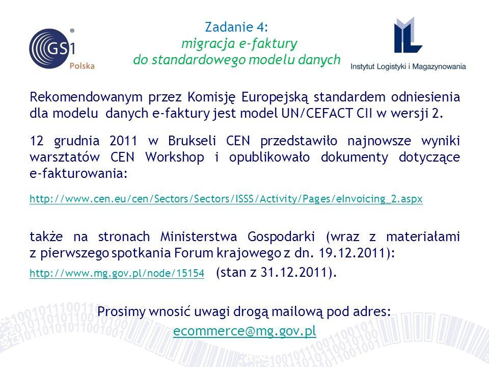 Rekomendowanym przez Komisję Europejską standardem odniesienia dla modelu danych e-faktury jest model UN/CEFACT CII w wersji 2. 12 grudnia 2011 w Bruk
