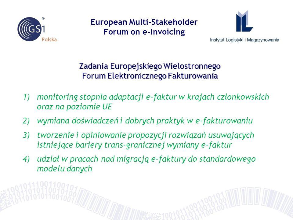 Forum Europejskiej e-Faktury w Polsce Zadania Grupy Aktywności 1 monitoring stopnia adaptacji e-faktur w krajach członkowskich oraz na poziomie UE zebranie i analiza danych (monitoring) do opracowania wskaźników rynku wyznaczonych przez KE – badania w grupie uczestników Forum krajowego o elementy ilościowe o elementy jakościowe opracowanie raportu z monitoringu wg zaleceń KE