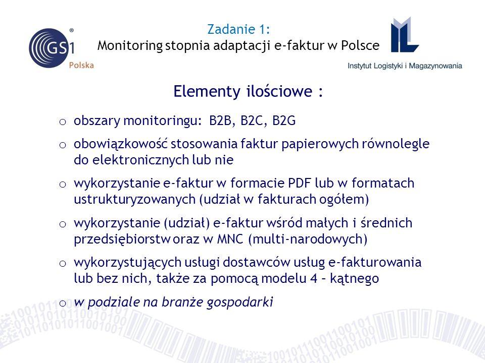 Zadanie 1: Monitoring stopnia adaptacji e-faktur w Polsce Elementy ilościowe : o obszary monitoringu: B2B, B2C, B2G o obowiązkowość stosowania faktur