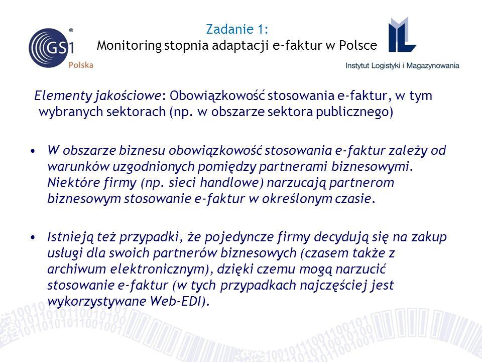 Elementy jakościowe: Identyfikacja najważniejszych środowisk i usługodawców w obszarze e-faktur Bardzo istotne znaczenie w Polsce w obszarze e-faktur pełni ECR Polska, zrzeszające czołowych graczy sektora Retail i FMCG.