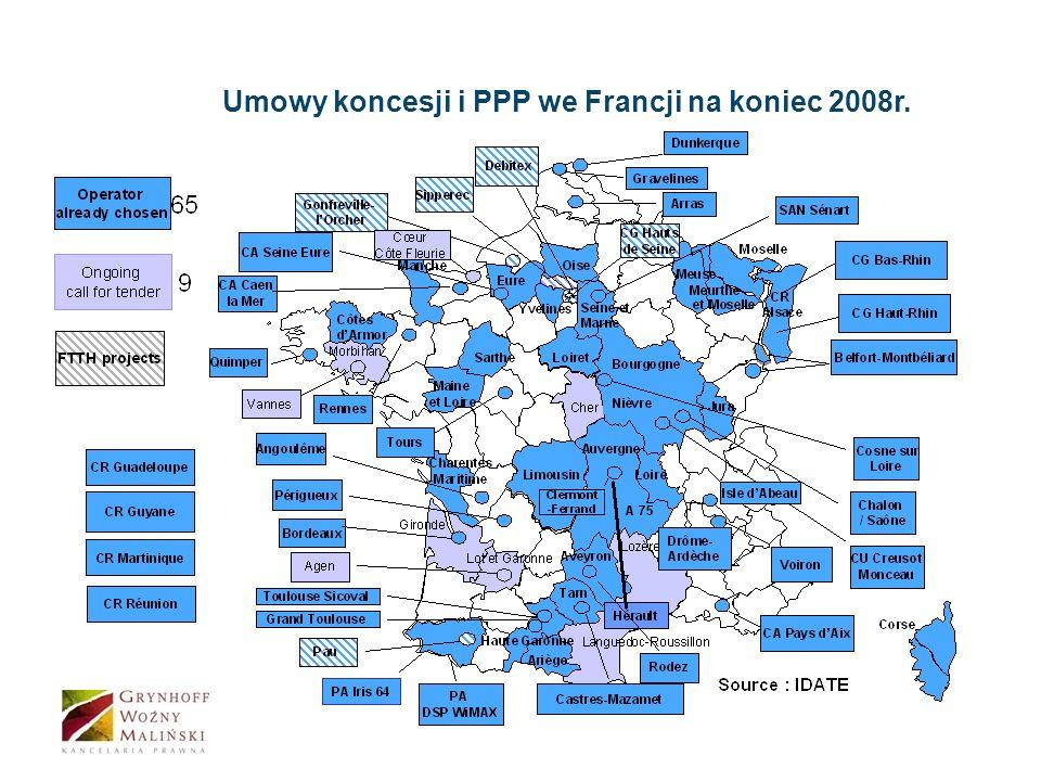 Umowy koncesji i PPP we Francji na koniec 2008r.