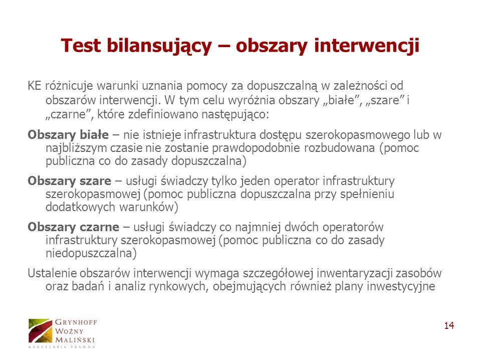 14 Test bilansujący – obszary interwencji KE różnicuje warunki uznania pomocy za dopuszczalną w zależności od obszarów interwencji. W tym celu wyróżni