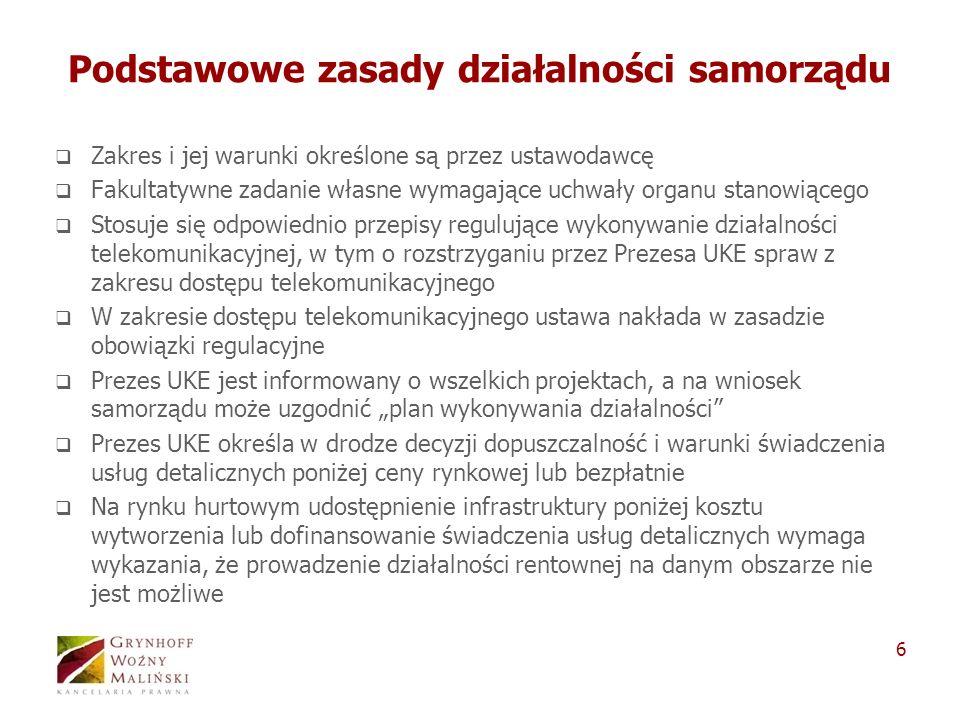 6 Podstawowe zasady działalności samorządu Zakres i jej warunki określone są przez ustawodawcę Fakultatywne zadanie własne wymagające uchwały organu s