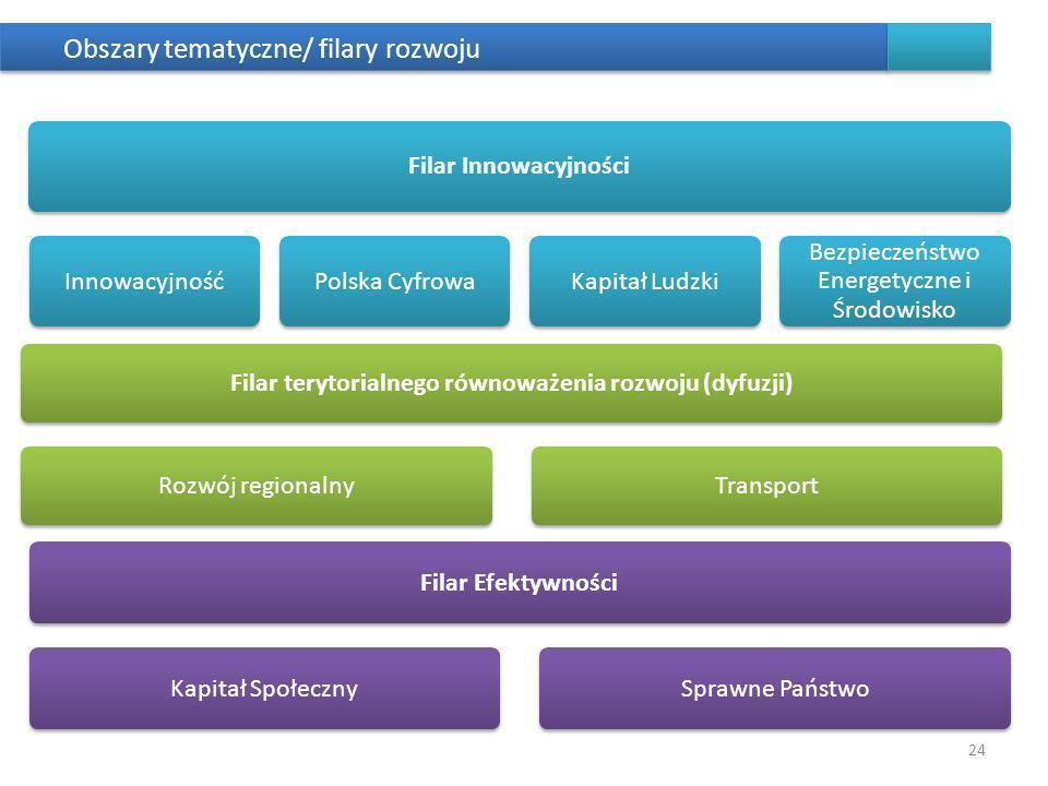 Obszary tematyczne/ filary rozwoju 24 Filar terytorialnego równoważenia rozwoju (dyfuzji)Rozwój regionalnyTransport Filar InnowacyjnościInnowacyjnośćP
