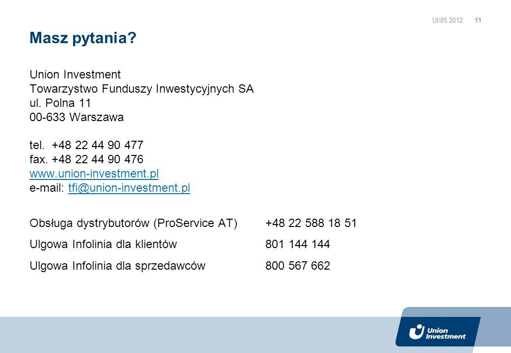 Union Investment Towarzystwo Funduszy Inwestycyjnych SA ul. Polna 11 00-633 Warszawa tel. +48 22 44 90 477 fax. +48 22 44 90 476 www.union-investment.