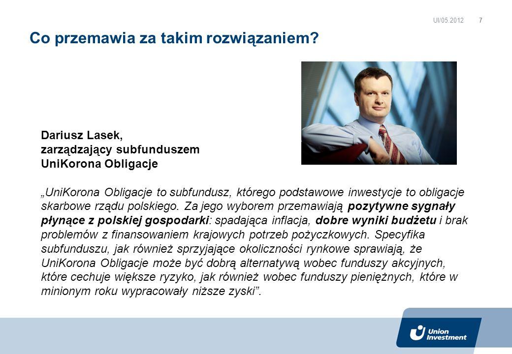 Co przemawia za takim rozwiązaniem? UI/05.2012 Dariusz Lasek, zarządzający subfunduszem UniKorona Obligacje UniKorona Obligacje to subfundusz, którego
