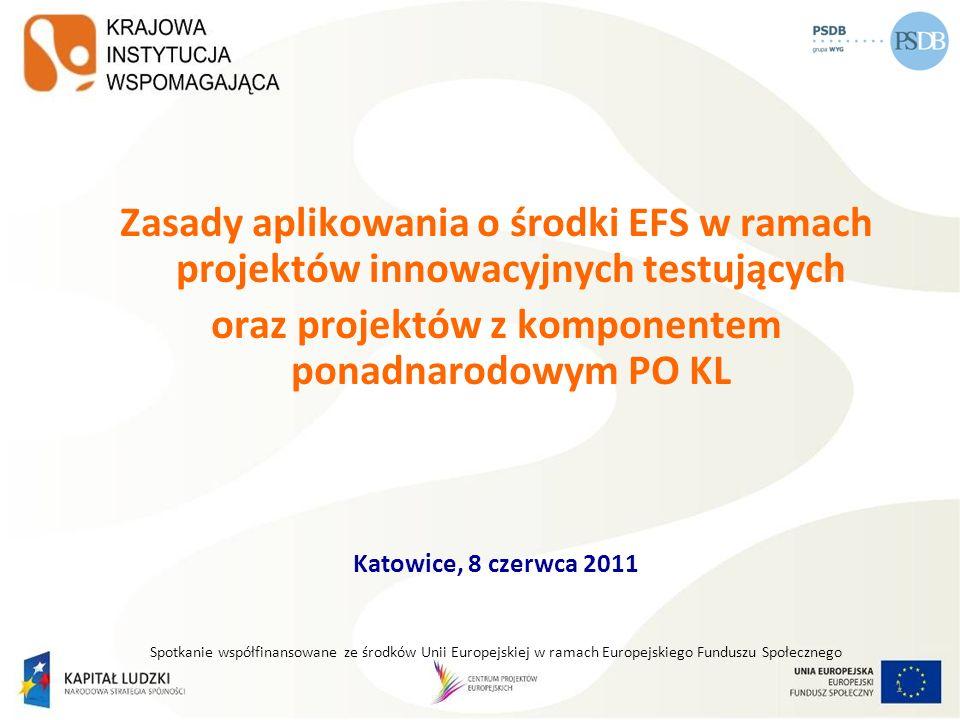 1 Zasady aplikowania o środki EFS w ramach projektów innowacyjnych testujących oraz projektów z komponentem ponadnarodowym PO KL Katowice, 8 czerwca 2