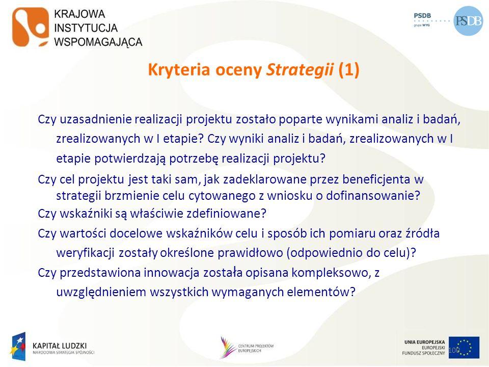 100 Kryteria oceny Strategii (1) Czy uzasadnienie realizacji projektu zostało poparte wynikami analiz i badań, zrealizowanych w I etapie? Czy wyniki a