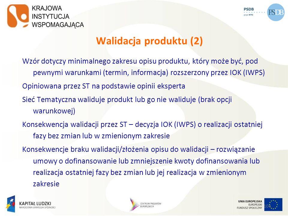 104 Walidacja produktu (2) Wzór dotyczy minimalnego zakresu opisu produktu, który może być, pod pewnymi warunkami (termin, informacja) rozszerzony prz