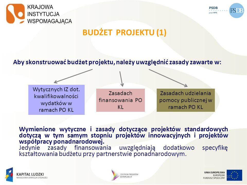 BUDŻET PROJEKTU (1) Aby skonstruować budżet projektu, należy uwzględnić zasady zawarte w: Wytycznych IZ dot. kwalifikowalności wydatków w ramach PO KL