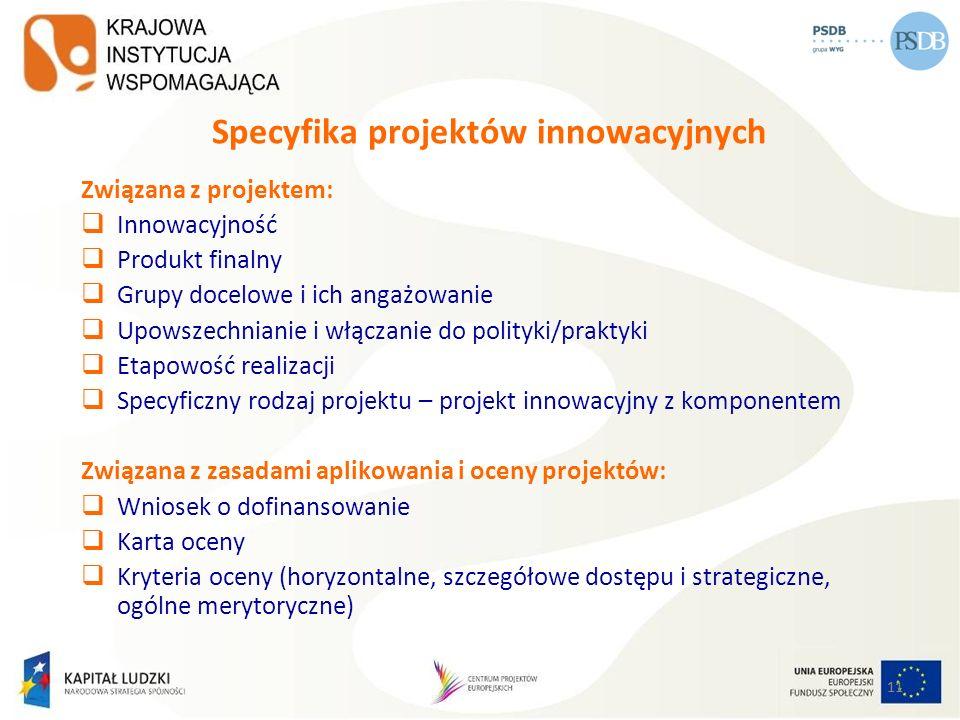 11 Specyfika projektów innowacyjnych Związana z projektem: Innowacyjność Produkt finalny Grupy docelowe i ich angażowanie Upowszechnianie i włączanie