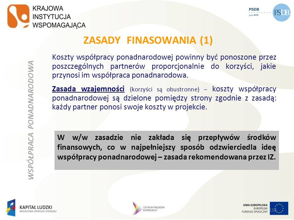 ZASADY FINASOWANIA (1) Koszty współpracy ponadnarodowej powinny być ponoszone przez poszczególnych partnerów proporcjonalnie do korzyści, jakie przyno
